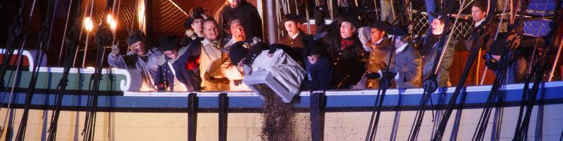 photo of boston reenactment dumping the tea