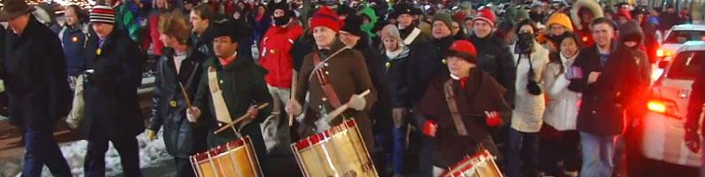 photo of boston tea party reenactment march