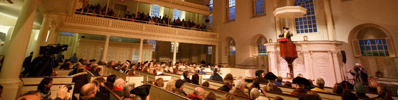photo of reenactment old south meeting-house